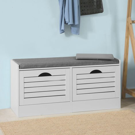 SoBuy Hallway Padded Shoe Storage Bench Cabinet with 2 Flip-drawers FSR62-W