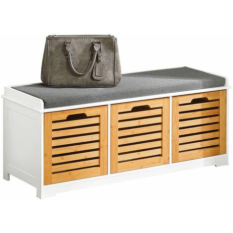 SoBuy Hallway Shoe Storage Bench With Drawers & Cushion,FSR23-WN