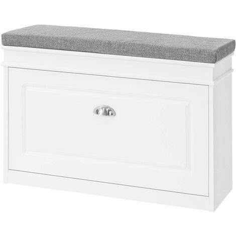 "main image of ""SoBuy Hallway Shoe Storage Bench Cabinet with Flip-drawer & Cushion FSR64-W"""