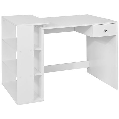 SoBuy Home Office Table Desk, Computer Desk Computer Workstation with Storage Shelves, White FWT35-W