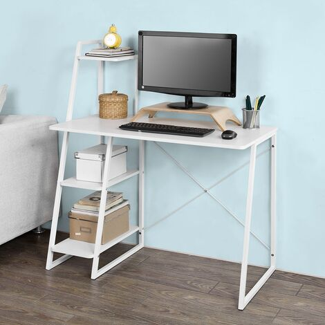 SoBuy Home White Office Wood Computer Table with Storage Rack,FWT29-W
