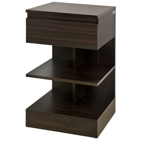 SoBuy Home Wood Bedside End Table with Drawer & Storage Shelves, FBT49-BR