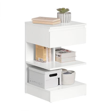 SoBuy Home Wood Bedside End Table with Drawer & Storage Shelves, FBT49-BR