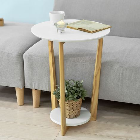 SoBuy Home Wood Side End Table,White,FBT52-WN