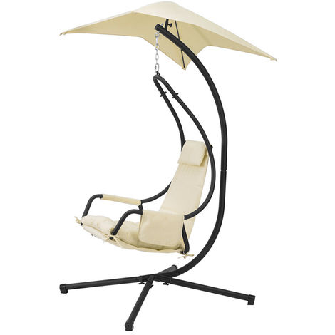 SoBuy Indoor Outdoor Garden Patio Swing Chair Hanging Chair Hammock with Cushion and Sunshade OGS53-MI
