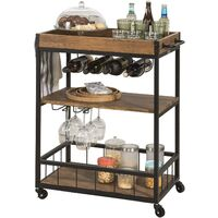 SoBuy Industrial Vintage Wood Metal 3 Tiers Kitchen Serving Trolley FKW56-N