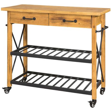 SoBuy Industrial Vintage Wooden Metal Kitchen Storage Trolley Table,FKW57-N
