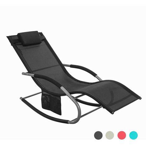 SoBuy® Jardín mecedora con reposapiés, Hamaca de jardín, Tumbona ergonómica, negro, OGS28-SCH, ES