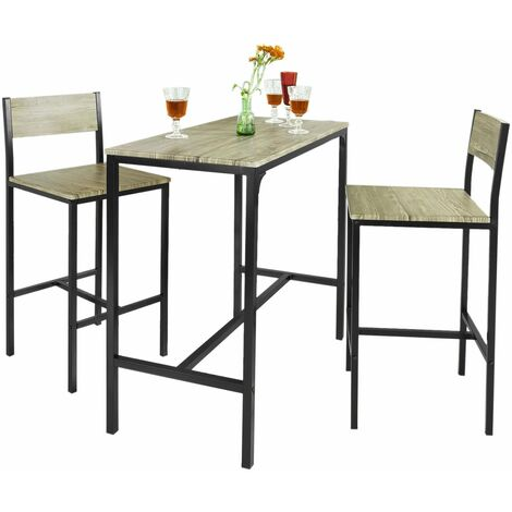 SoBuy® Juegos de muebles Altas, Mesa de cafetería, 3 Piezas Set de Balcón, Set de bar, OGT03, ES