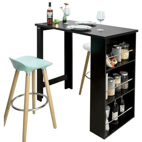 SoBuy Kitchen Dining Coffee Bistro Bar Table & Storage Rack,FWT17-SCH,Black