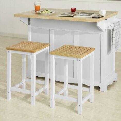"main image of ""SoBuy Kitchen Island Set,Kitchen Island and Set of 2 Wooden Kitchen Breakfast Bar Stool,FKW41-WN+FST29-WNX2"""