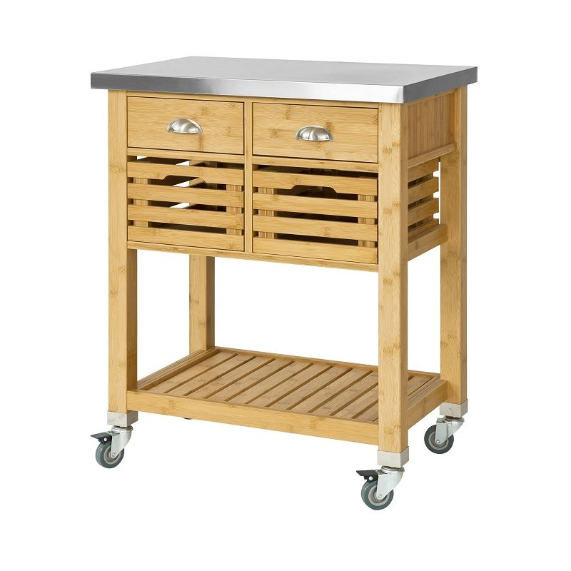 Sobuy Kitchen Serving Trolley Cart Storage Cabinet With Drawers Fkw40 N