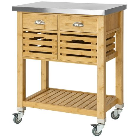 SoBuy Kitchen Serving Trolley Cart Storage Cabinet with DrawerS, FKW40-N