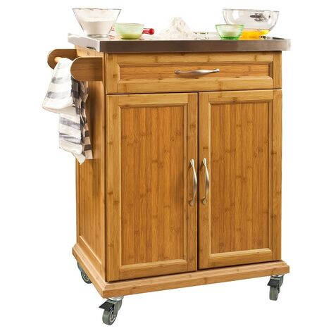 SoBuy Kitchen Storage Cabinet, Kitchen Island Trolley Rubber Wheels,FKW13-N