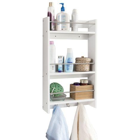SoBuy Kitchen Storage Rack,Wall Cabinet, Bathroom Shelf,White,FRG33-W