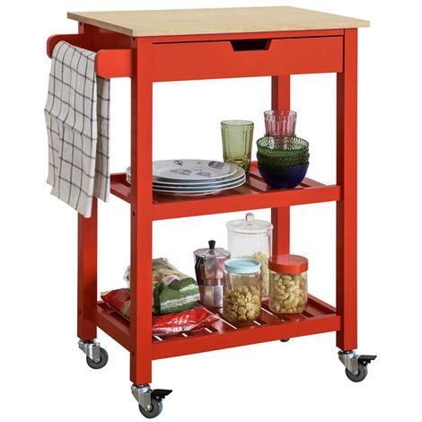 SoBuy Kitchen Storage Serving Trolley Cart with Shelf & Drawer FKW66-R