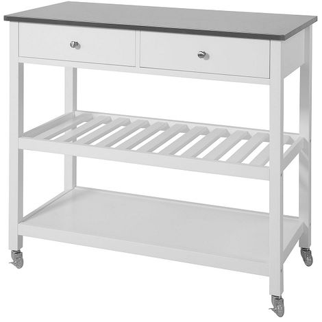 SoBuy Kitchen Storage Serving Trolley Cart with Stainless Steel Top,FKW47-W