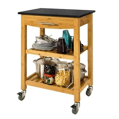 SoBuy Kitchen Storage Trolley Cart Island with Black Granite Top, FKW28-SCH