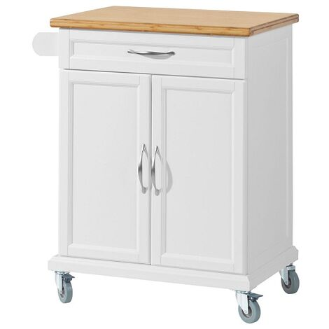 SoBuy Kitchen Storage Trolley Cart with Bamboo Top,FKW13-WN