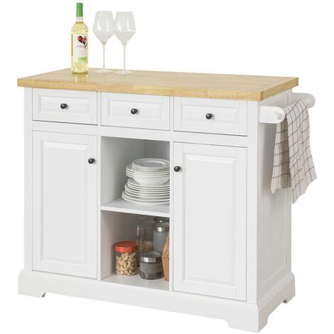 SoBuy Kitchen Storage Trolley Kitchen Cabinet Cupboard Sideboard Kitchen Island with 3 Drawers 2 Open Shelves 2 Doors,FKW101-WN
