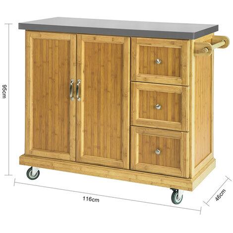 SoBuy Kitchen Storage Trolley Kitchen Island Kitchen Cabinet Cupboard Sideboard with Stainless Steel Top,FKW81-N