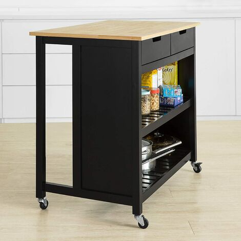 SoBuy Kitchen Storage Trolley Kitchen Storage Shelf Kitchen Breakfast Dining Bar Table,FKW74-SCH