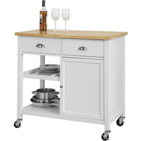 SoBuy Kitchen Storage Trolley Serving Cabinet with Wood Worktop,FKW62-WN