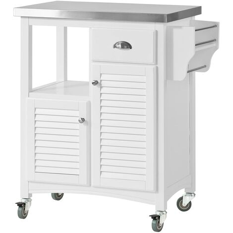 SoBuy Kitchen Storage Trolley, Stainless Steel Worktop & Louvre Door,FKW37-W