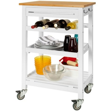 SoBuy Kitchen Trolley Cart with Bamboo Top, FKW16-WN + Free Chopping Block