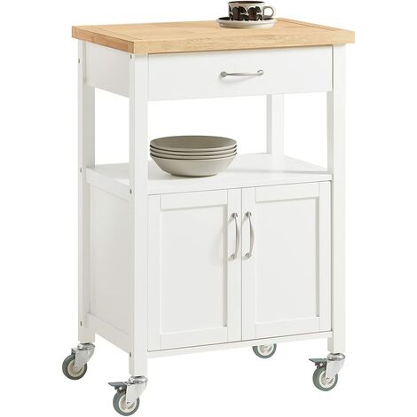 SoBuy Kitchen Trolley Cart with Doors & Storage Cabinet, White,FKW22-WN