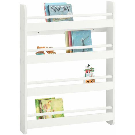 SoBuy KMB08-K-W Librería infantil para niños con 4 estanterías, Estantería de pared,blanco,H80cm ,ES
