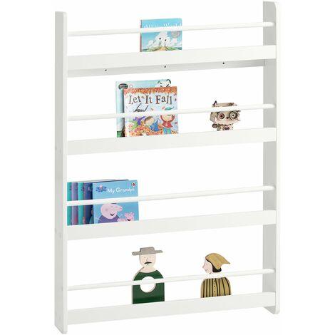 SoBuy KMB08-W Librería infantil para niños con 4 estanterías, Estantería de pared,blanco,H118cm ,ES