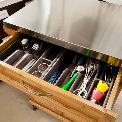 SoBuy Küchenwagen aus Bambus mit Edelstahltop, FKW13-N