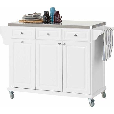 SoBuy Küchenwagen mit Edelstahltop,Küchenschrank,weiß,FKW33-W