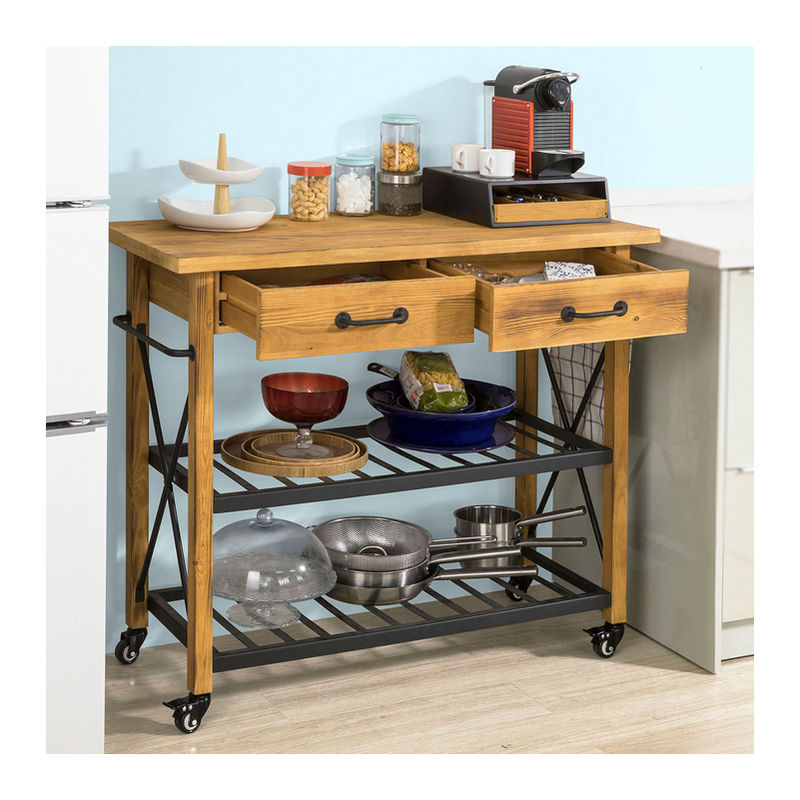 SoBuy Küchenwagen mit Rollen Beistelltisch Küche BHT ca.:106x92x46cm FKW57-N
