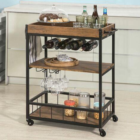 SoBuy Küchenwagen mit Rollen mit 2 Ablagen Tischplatte abnehmbar FKW56-N