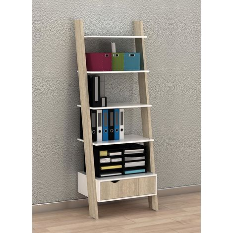 SoBuy Ladder Storage Wall Shelving Unit with 4 Shelves and Drawer,FRG112-WN