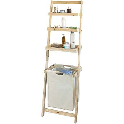 SoBuy Leiterregal,Badezimmer-Regal mit abnehmbarem Wäschekorb,FRG160-N