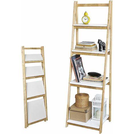 SoBuy Leiterregal,Bücherregal, mit 4 Böden, klappbar,aus Kautschukholz,FRG162-N