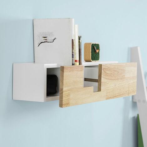 SoBuy Libreria con cassetto a muro bianco in legno massiccio di ...