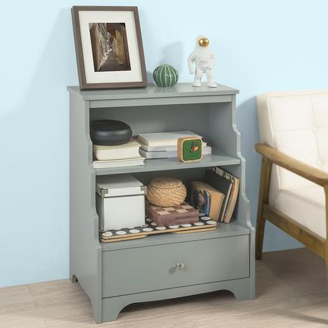 SoBuy Libreria grigio con cassetto Mobiletto basso da soggiorno,FSB13-HG