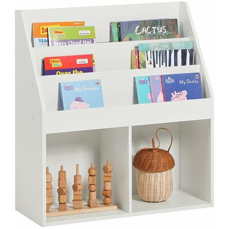 SoBuy® Librería infantil para niños con 3 estanterías, Estantería estándar infantil,blanco,H80cm,KMB01-W,ES