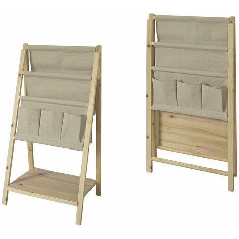 SoBuy® Librería infantil plegable con 3 estanterías,Estantería escalera,H78cm,FRG276-N,ES