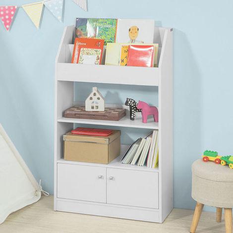"""main image of """"SoBuy Libreria montessoriana per Bambini Portariviste Mobiletto cameretta Bambini, con 2 Ante, Bianco, KMB11-W"""""""
