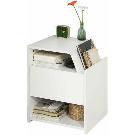 SoBuy® Mesa auxiliar con 1 cajón, Consola,mesita de noche,blanco, H51cm,FRG261-W,ES