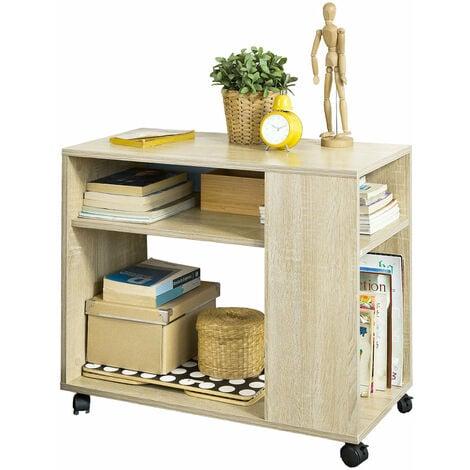SoBuy® Mesa auxiliares de salón, Mesa de centro, Mesa para el café con ruedas en diseño moderno con repisa, FBT34-N, ES