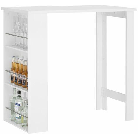 SoBuy® Mesa de Bar, Mesa de Comedor con 3 Estantes, blanco, H106cm, FWT17-W, ES (Blanco)