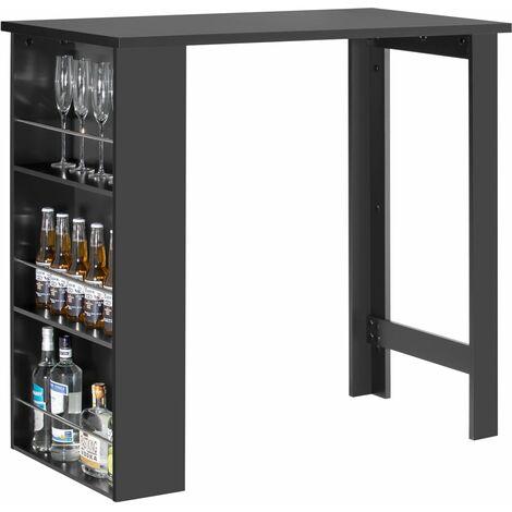 SoBuy® Mesa de Bar, Mesa de Comedor con 3 Estantes, negro, H106cm, FWT17-SCH, ES (negro)