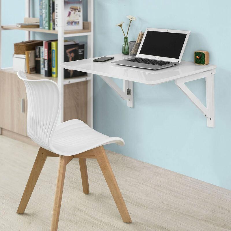 SoBuy® Mesa de cocina, mesa plegable de pared, mesa de madera, mesa de  comedor, mesa de pared, 75x60cm 2 soportes, (sillas no incluidas), FWT05-W,  ES