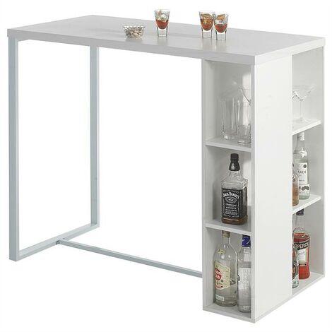 SoBuy® Mesa de escritorio alta, Mesa de ordenador con 3 estantes ,color blanco, L 120 x H 105 cm,FWT39-W,ES